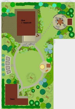 Пример Г-образной планировки участка