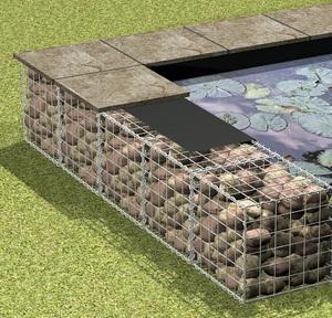 Габионы садовые помогают зонировать пространство.