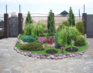 Миксбордер из хвойных и лиственных кустарников