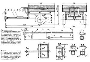 Тележка для мотоблока - подробный чертеж для создания прицепа своими руками.